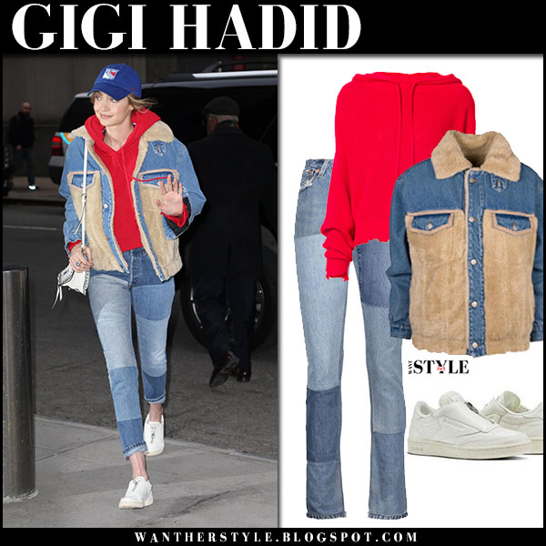 Gigi Hadid in denim holzweiler shearling jacket, jeans and red rta hoodie casual street fashion march 12