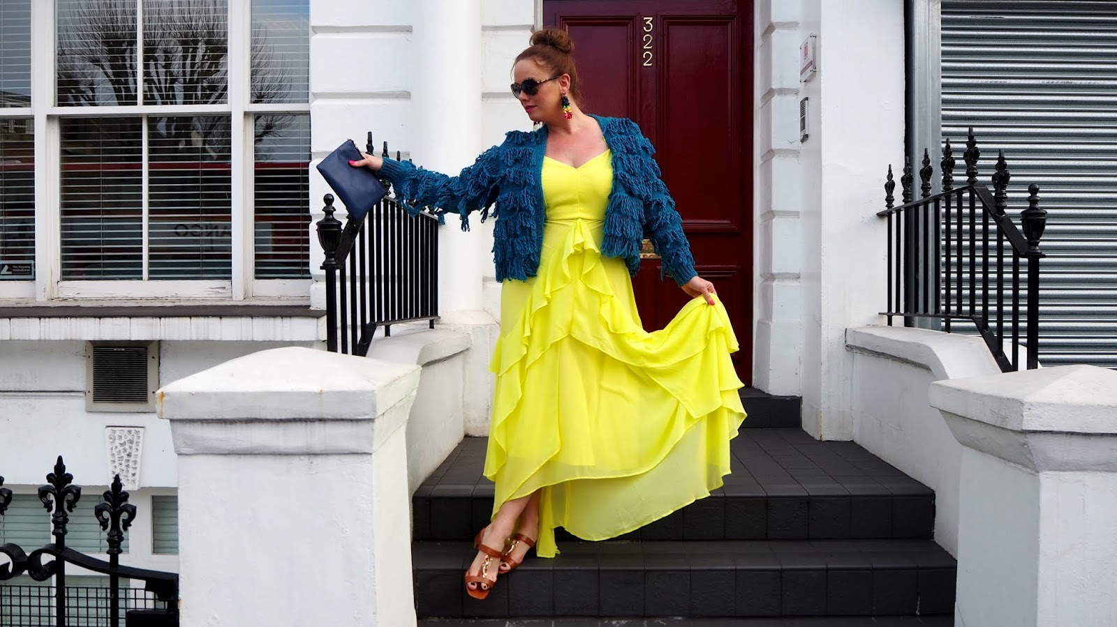 Yellow chiffon Dress with teal shaggy cardigan