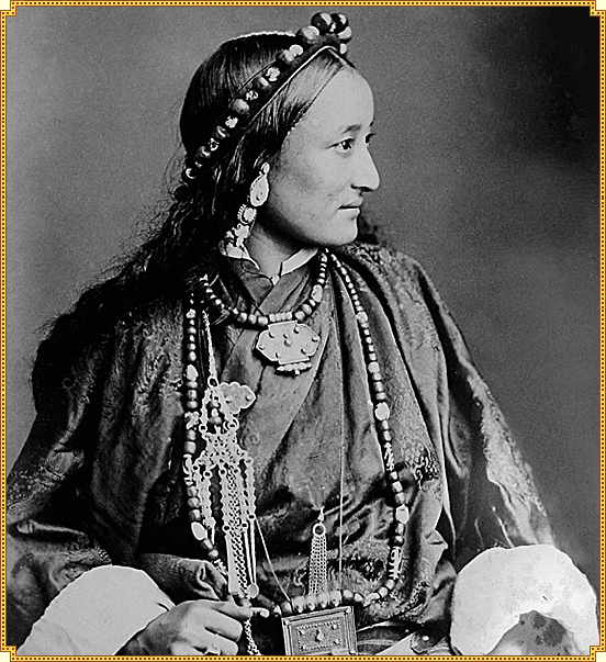 Tibetan Lady wearing lhasa style of dress 1890.