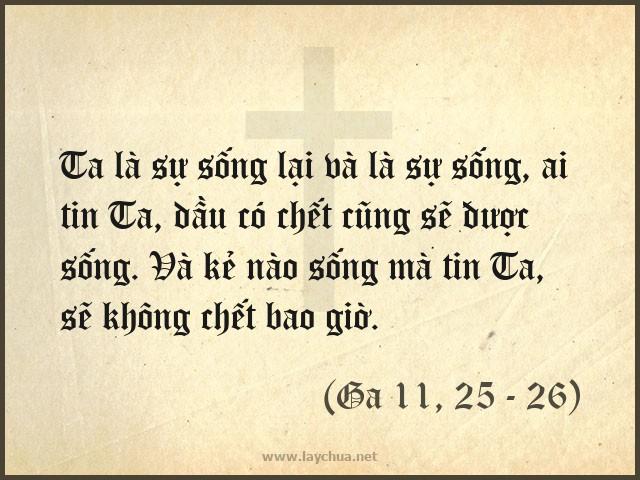 Ta là sự sống lại và là sự sống, ai tin Ta, dầu có chết cũng sẽ được sống. Và kẻ nào sống mà tin Ta, sẽ không chết bao giờ. (Ga 11, 25 - 26)