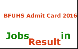 BFUHS Admit Card 2016