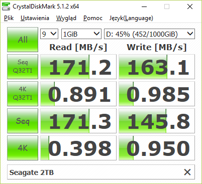 CrystalDiskMark na Seagate 2TB (ST2000DM001)