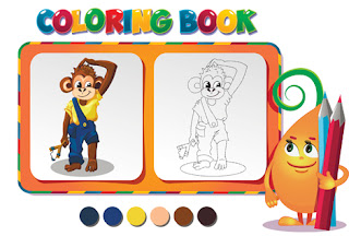 Clipart Image of a Colouring Page With a Monkey