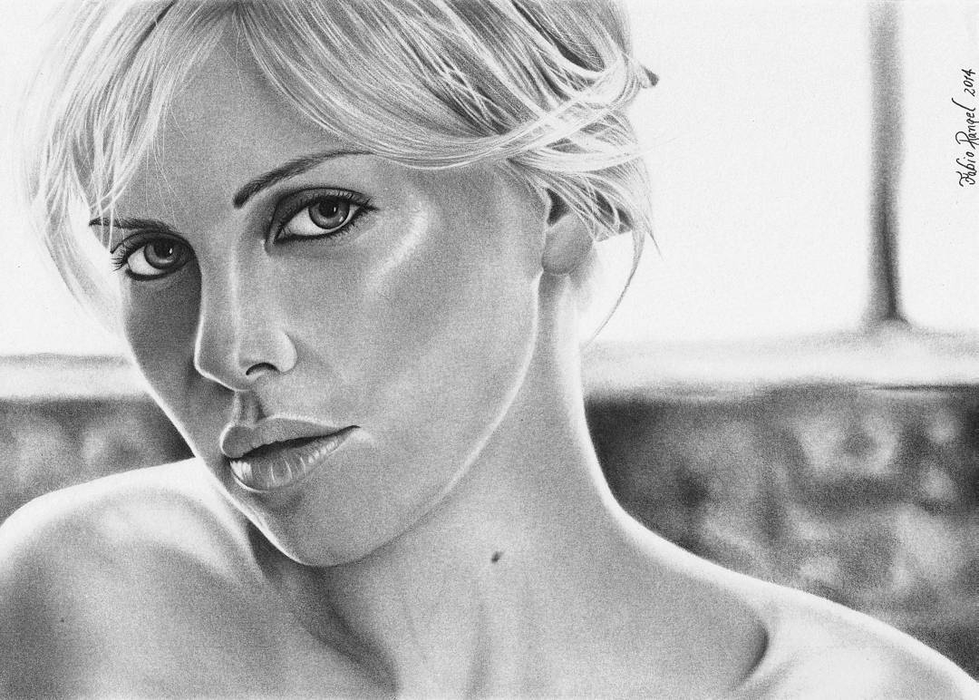 19-Charlize-Theron-Fabio-Rangel-Drawings-of-Protagonists-from-TV-and-Movies-www-designstack-co