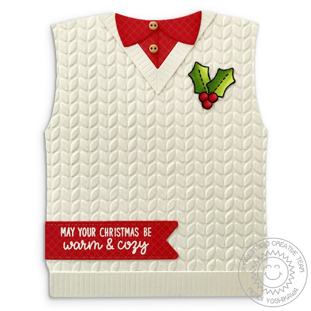 Sunny Studio Stamps: Warm & Cozy Ivory Cable Knit Sweater Vest Card by Mendi Yoshikawa