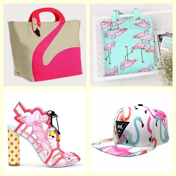 Acessórios,bonés,bolsas e sapatos flamingos