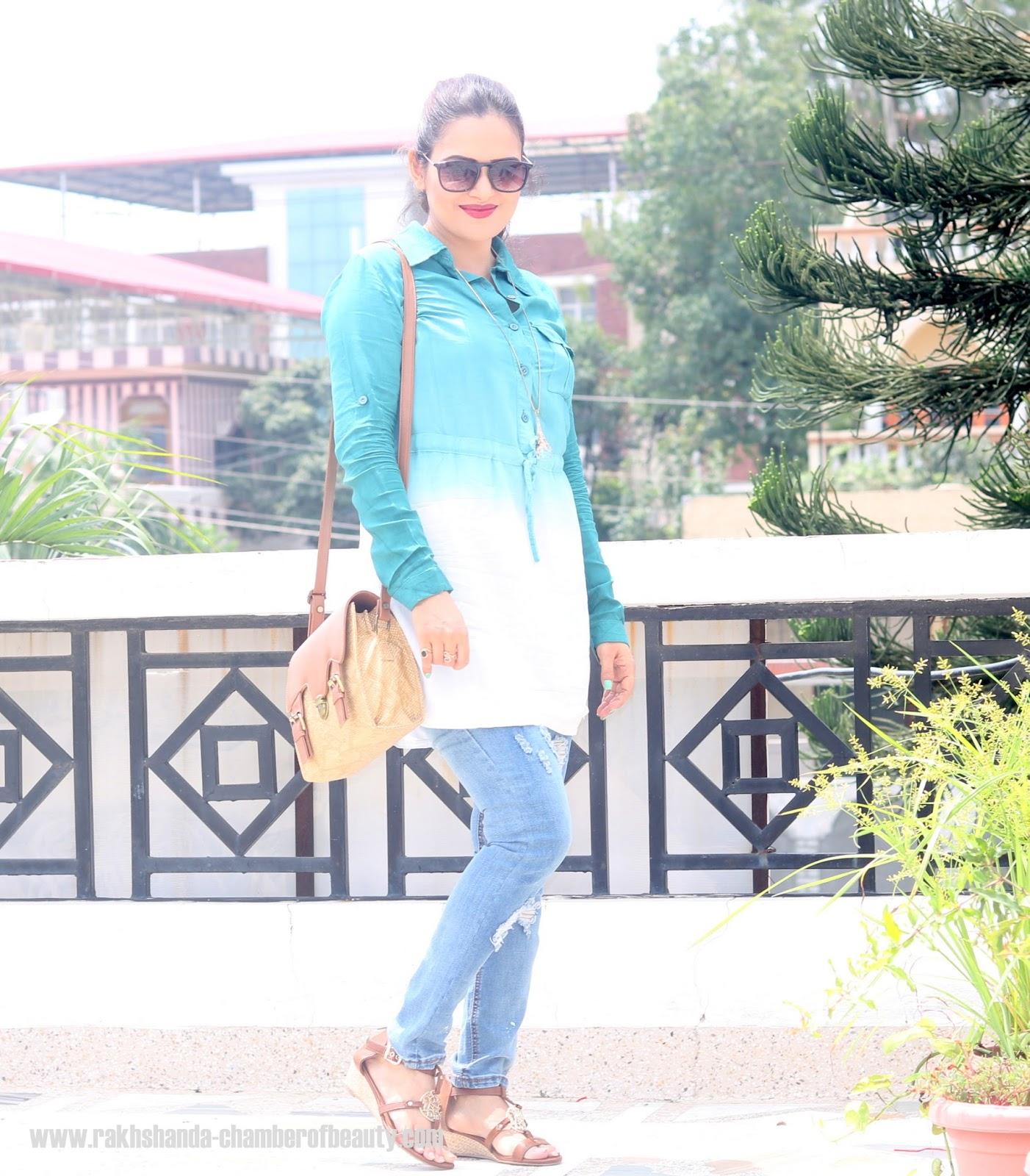 Ombre shirt dress, wsdear, Indian fashion blogger, Chamber of Beauty