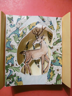 Diorama Cerf, collage et profondeur, malooka