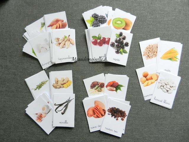 || Cartes de nomenclature ; Fruits, Légumes, Aromates, condiments et épices, Fruits secs et graines, et Féculents