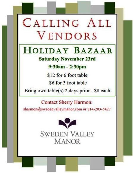 11-23 Vendors Wanted for Holiday Bazaar
