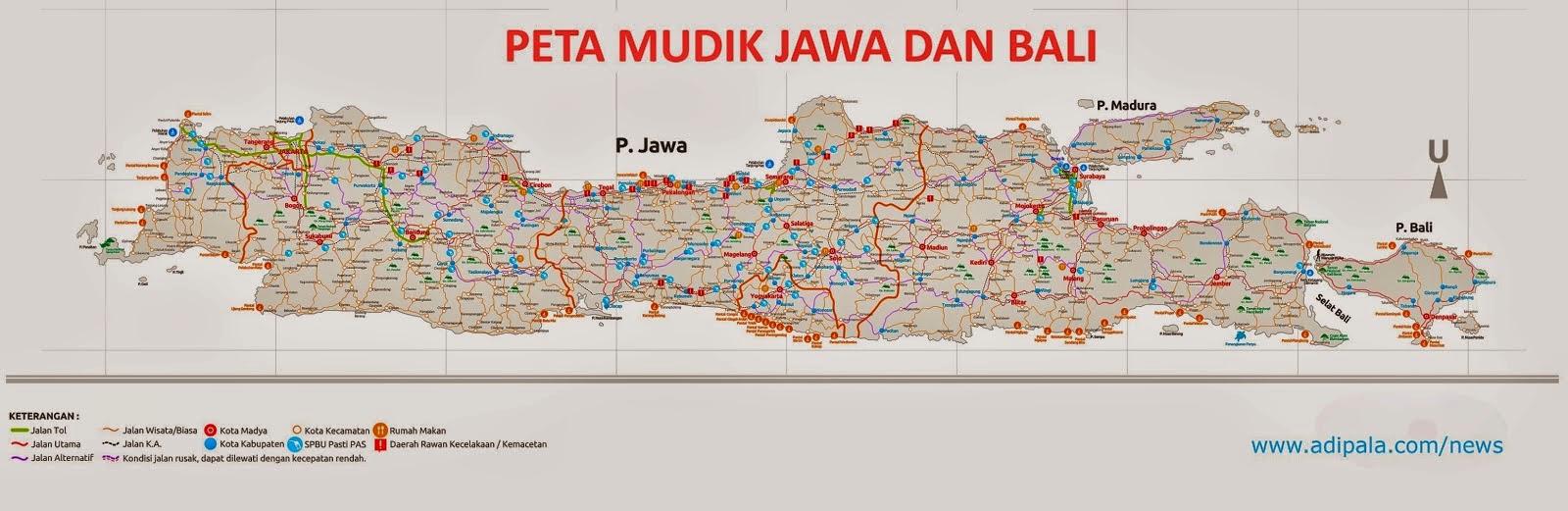 Peta Jalur Mudik Lebaran Jawa dan Bali 2017
