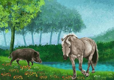 El caballo y el jabalí - Gayo Julio Fedro