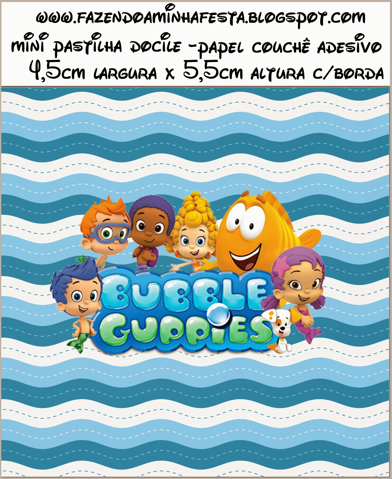Bubble Guppies Free Printable Candy Bar Labels