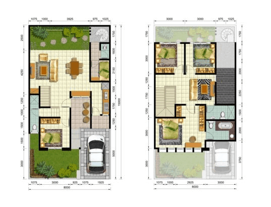 20 contoh gambar denah rumah minimalis 3 kamar tidur masa
