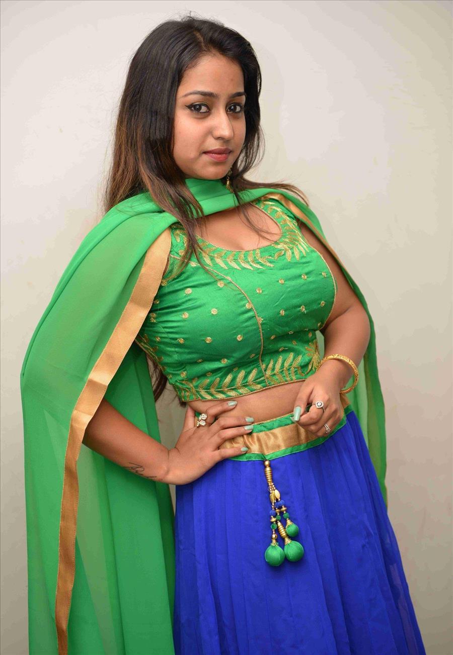 Beautiful Indian Girl Amrutha Nair In Green Lehenga Choli