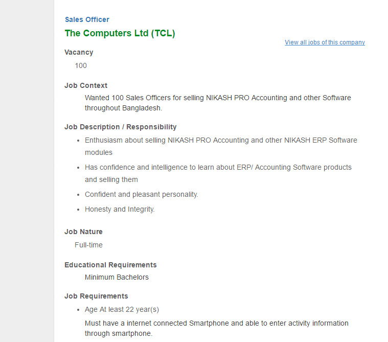 Career   The Computers Ltd (TCL)   Sales Officer