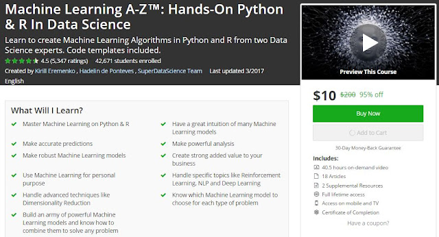 Machine Learning A-Z™ Hands-On Python & R In Data Science