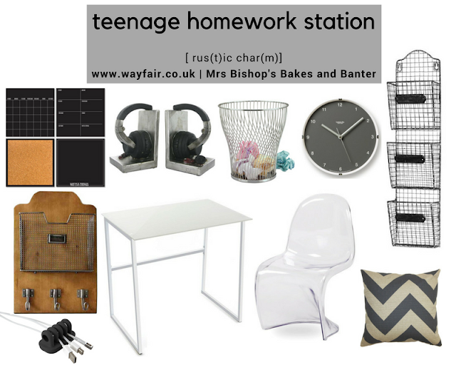 Teenage homework station moodbaord by Mrs B for Wayfair