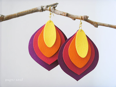 Paper Leaf color block earrings