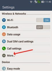 Menus wireless & Networks Smartphone Asus Zenfone 5