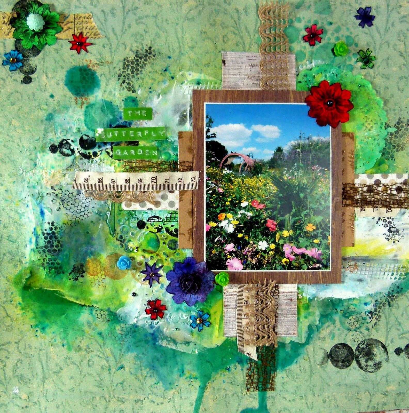 sin city stamps  butterfly garden scrapbook page life