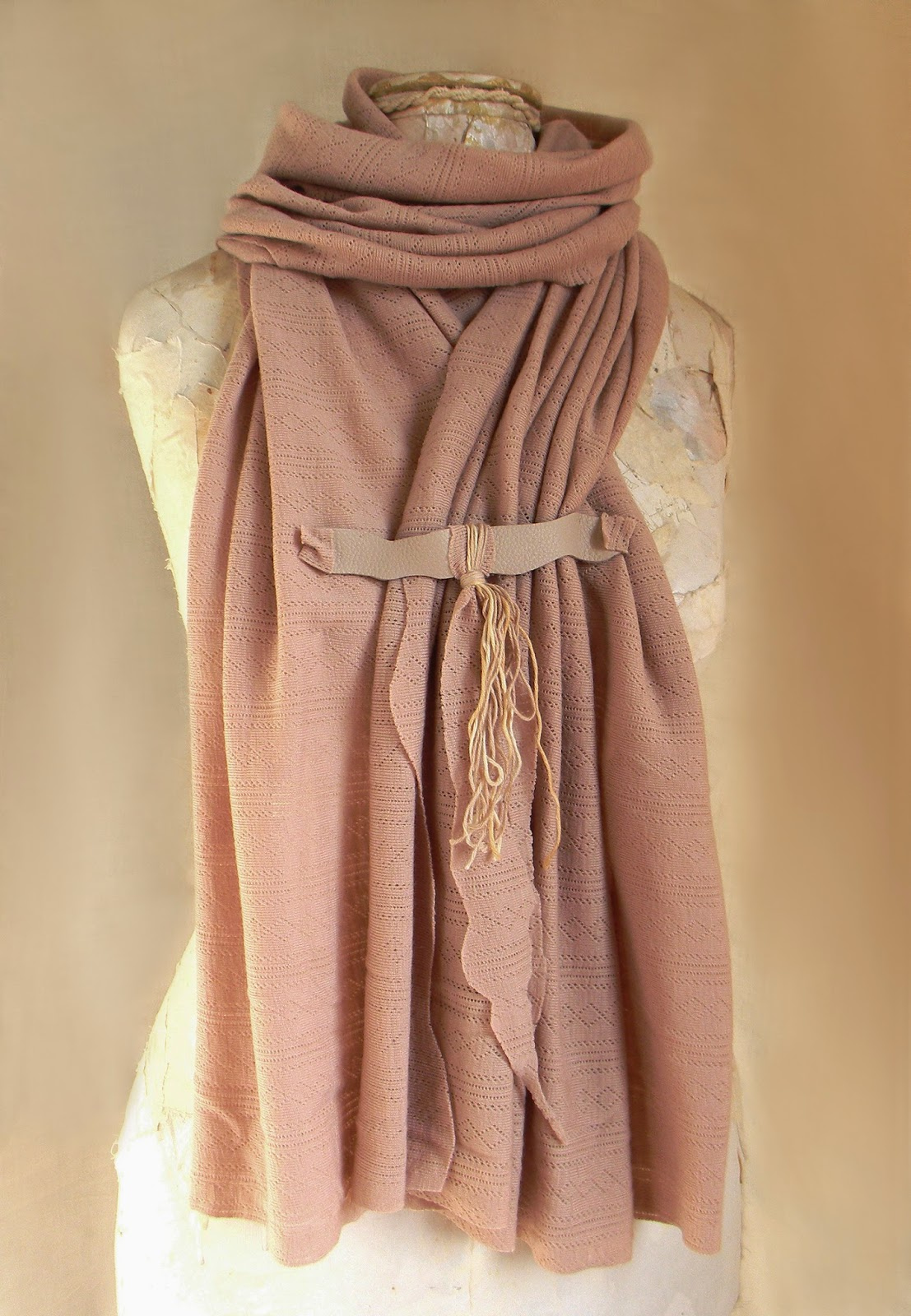 Eco Chic Wide Neckwear Shawl, Woodland and Rustic Chic Poncho with Leather Strap Lanyard and Organic Cotton Cords