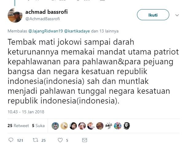Ancam Bunuh Presiden Jokowi, Pemilik Akun @AchmadBassrofi Dicari Polisi