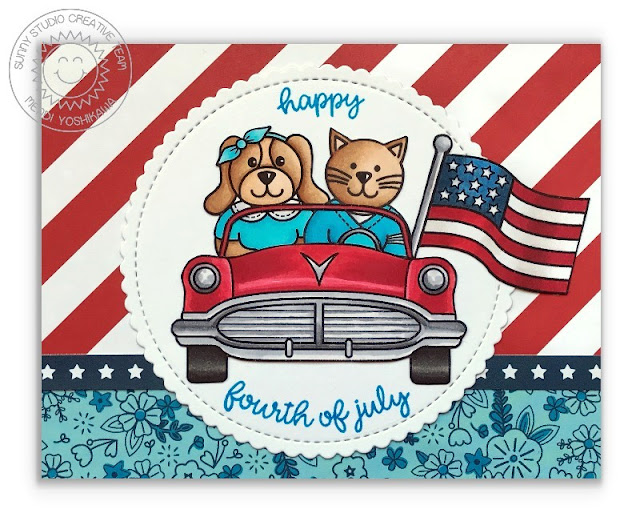 Sunny Studio Stamps Fourth of July Car Parade Card (featuring Sock Hop and Stars & Stripes stamps)