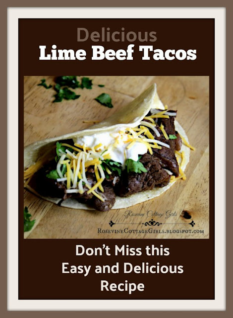 photo of a carne asade taco with cilantro, sour cream, cheese sitting on wooden counter | Text Delicious Lime Beef Tacos Don't miss this easy and delicious recipe | rosevinecottagegirls.com | Carne Asade recipe
