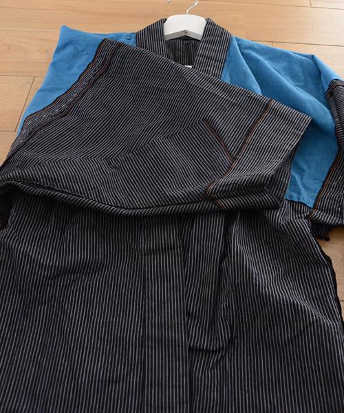 野良着 FUNS アンティーク着物 縞 40~50年代 ジャパンヴィンテージ noragi