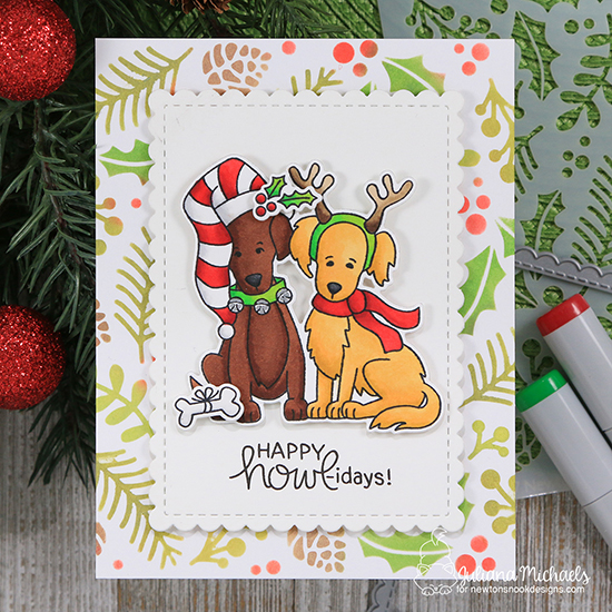 Dog Christmas Card by Juliana Michaels | Happy Howl-idays Stamp Set and Holiday Foliage Stencil by Newton's Nook Designs #newtonsnook #handmade