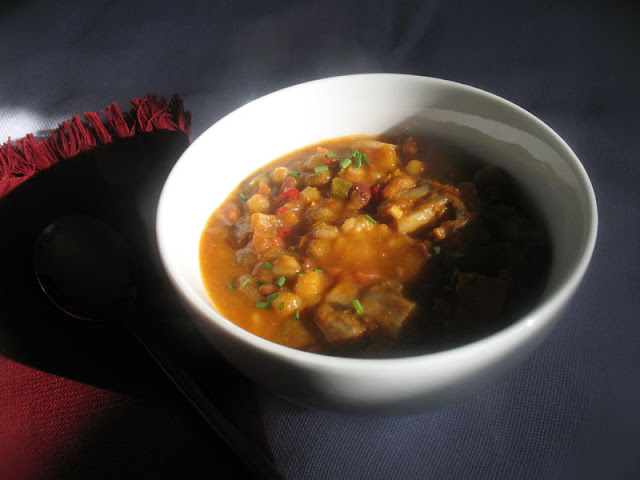 Vegetarian Pumpkin Chili with Adzuki Beans, Barley and Mushrooms