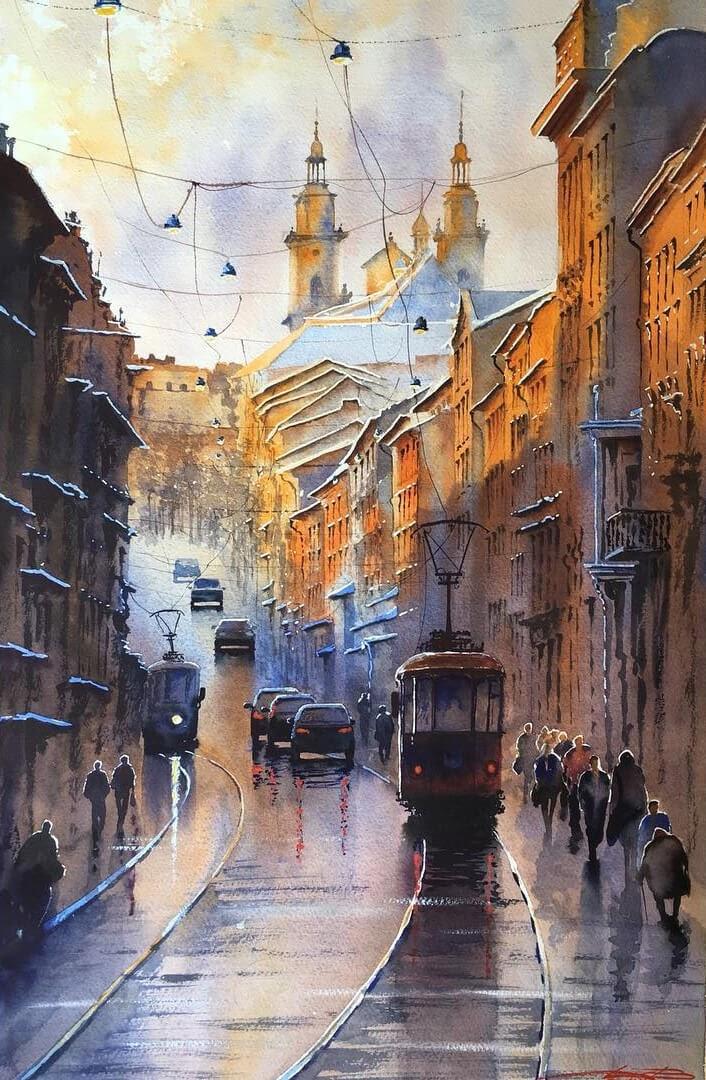 08-Tram-Ukraine-Igor-Dubovoy-Realistic-Urban-Watercolor-Paintings-www-designstack-co