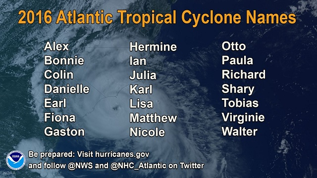 NOAA 2016 Atlantic Hurricane Names