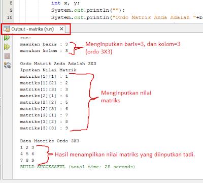 3 - Cara Menciptakan Matriks Dengan Ordo Di Inputkan Di Java