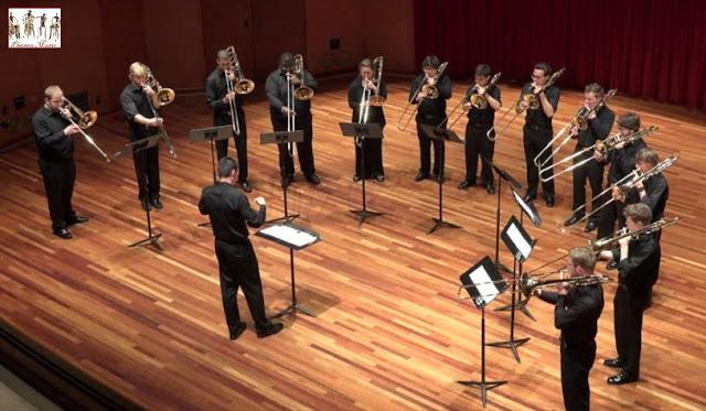 The Columbus State University Trombone Ensemble in performance