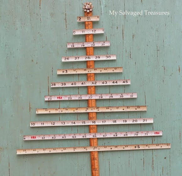 use old tape measures and yardsticks to make Christmas trees