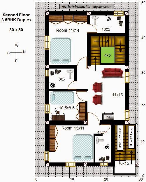 My Little Indian Villa: #43#R36 3.5BHK Duplex In 30x50