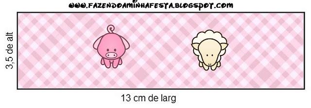 Etiquetas de  La Granja Bebés en Rosa para imprimir gratis.