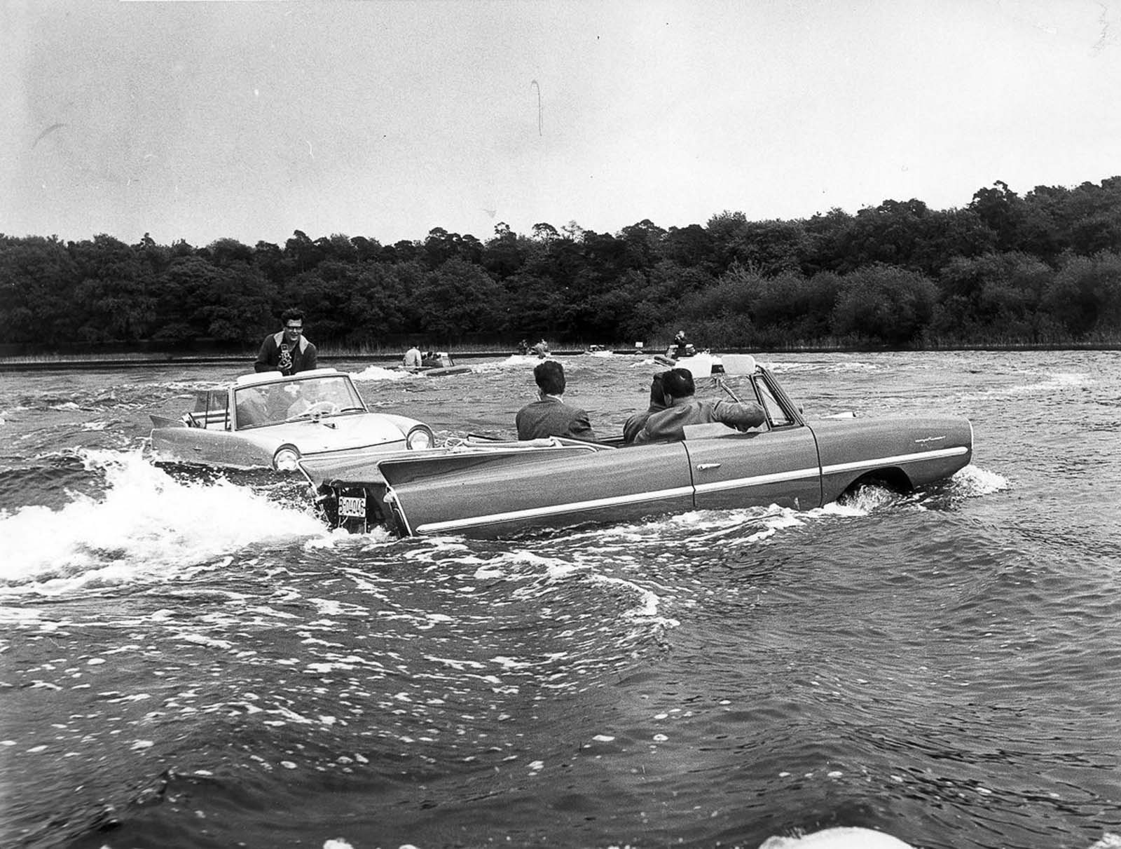 Two Amphicars crossed the English Channel in Sept. 1965 enduring 20-foot (6.1 m) waves and gale-force winds.