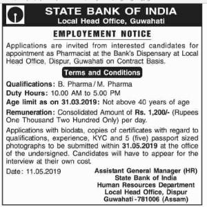 Pharmacist job at Bank's Dispensary in SBI | SBI Pharmacist Recruitment