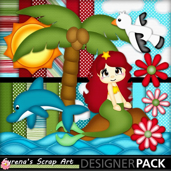 mermaid digital scrapbook kitg