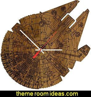 Star Wars Millennium Falcon Science Fiction Inspired Laser Engraved Wall Clock - American Walnut Wood
