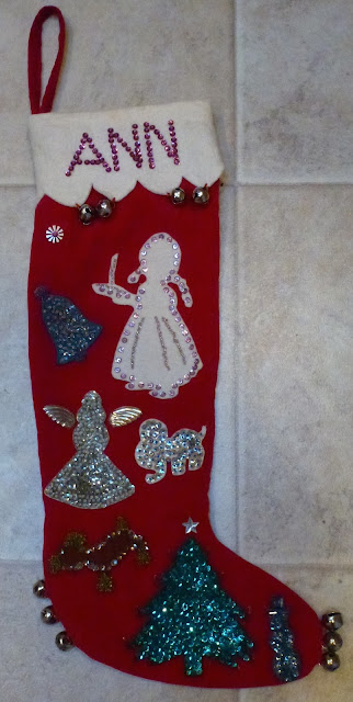 Velveteen Christmas stocking with beads, sequins, jingle bells.