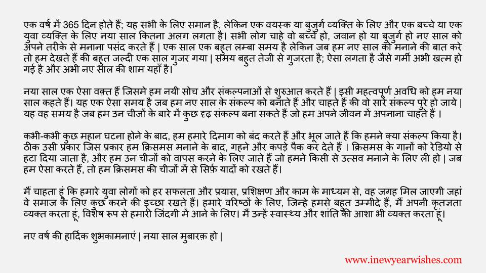 Happy New Year Essay In HIndi