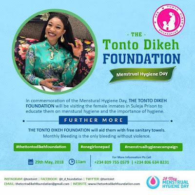 Tonto Dikeh Set To Create Awareness On Menstrual Hygiene As The World Mark World Menstrual Hygiene Day 28th Of May