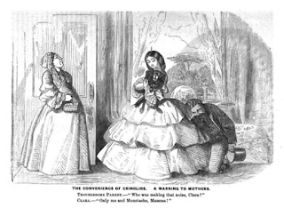 """The Convenience of Crinoline"" hoop parody, Graham's Magazine 1856"