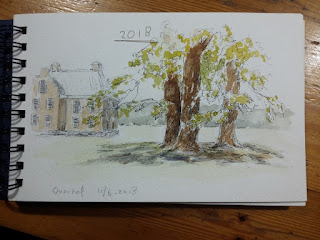 Overijssel, Deventer, pentekening, aquarel, plein air