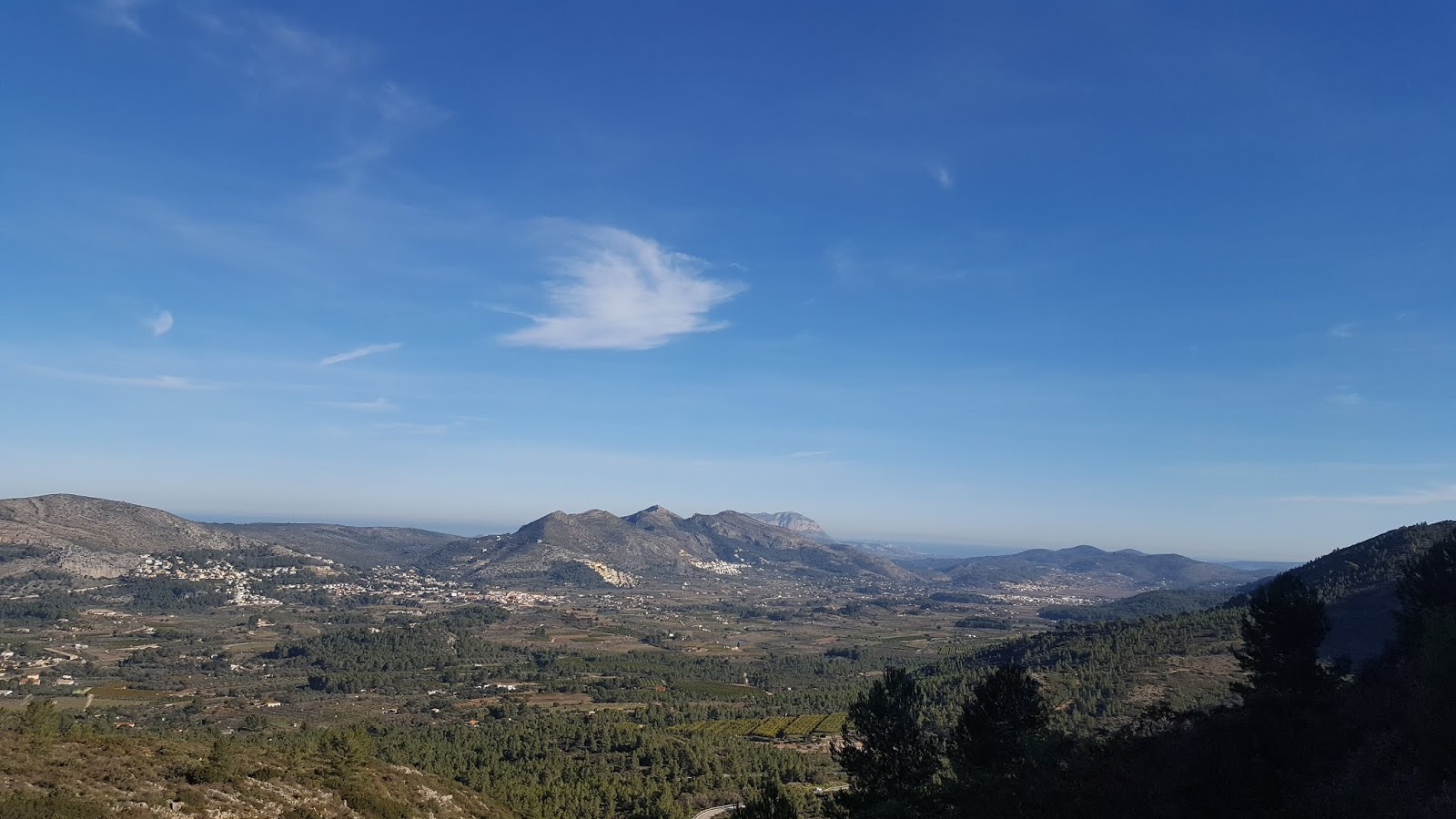 View over the village of Jalón from Coll de Rates, Alicante, Spain