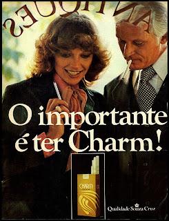 propaganda cigarros Charm - 1978. Reclame cigarros década de 70